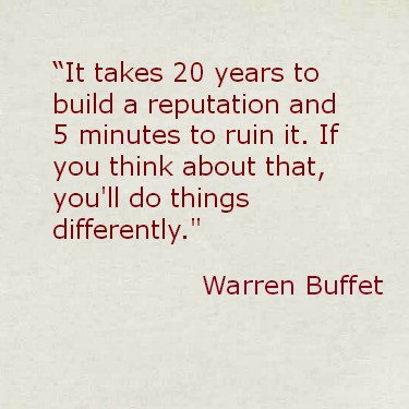 Warren Buffet reputation quote