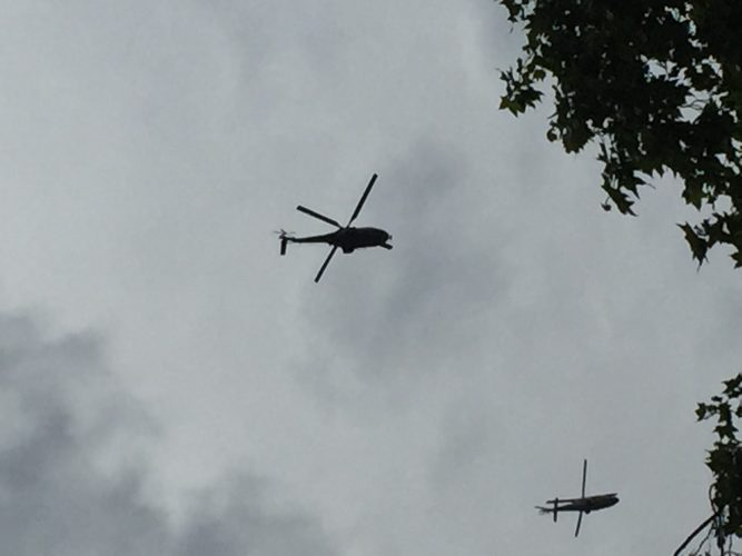 Helicopters led the flypast for Trooping the Colour